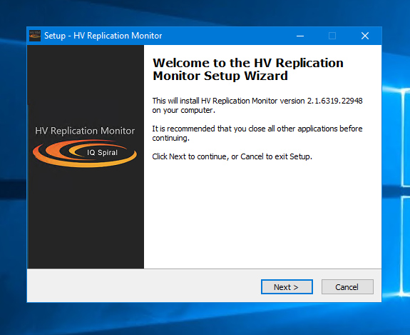 HV Replication Monitor setup wizard screenshot