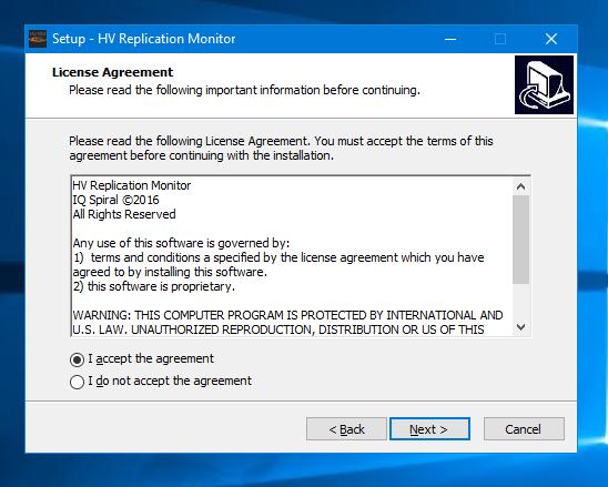 HV Replication Monitor license agreement screenshot