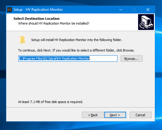 HV Replication Monitor installation location screenshot