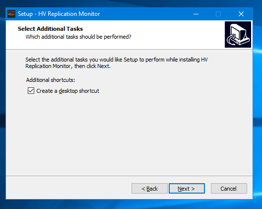 HV Replication Monitor create optional desktop shortcut screenshot