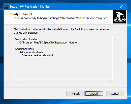 HV Replication Monitor install summary screenshot