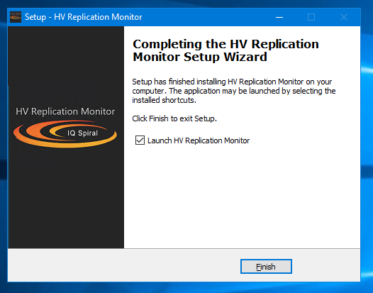 HV Replication Monitor installation finish screenshot