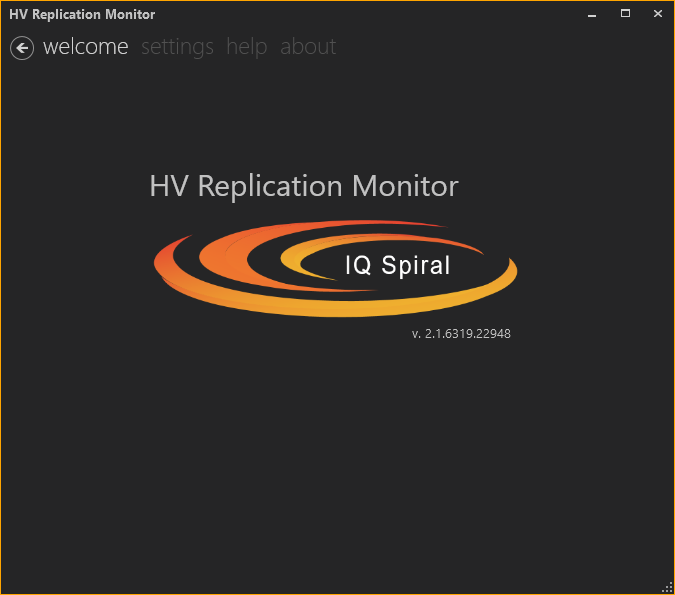 Replication Monitor GUI welcome screen